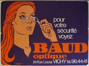 Affiche-BAUD-OPTIQUE-VICHY-Annees-039-60-039-70-illustr-J-PERRIER-118x160-cm
