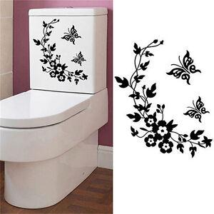 Mariposa flor baño WC portátil pared calcomanías pegatina hogar decoración FES