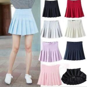 Women-High-Waist-Tennis-Dress-Plain-Skater-Flare-Pleated-Short-Mini-Plaid-Skirt