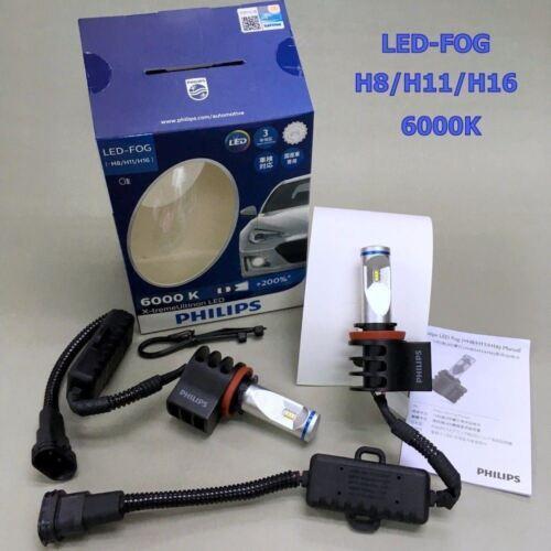 Genuine PHILIPS H8//H11//H16 6000K X-treme Ultinon LED FOG Headlight Bulb x 2 #gtn