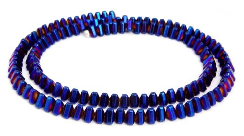 Hämatit Perlen Strang gewölbte dunkelblaue Dreiecke ~4x3 mm Spacer blau HÄMA-90