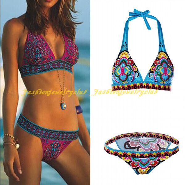 Tribal Women Bikini Set Bandeau Triangle Push-Up Bra Swimsuit Beachwear Swimwear
