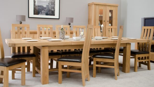 Phoenix Oak Furniture Extra Large Extending Dining Table And 12 Saco Chairs