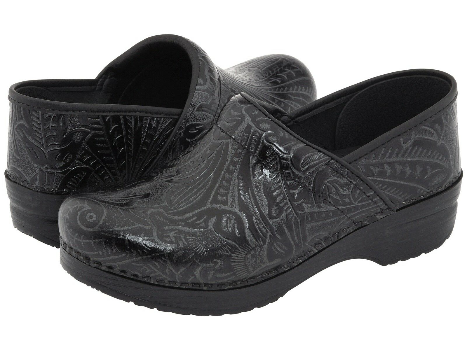 Dansko Leder PROFESSIONAL TOOLED BLACK Damenschuhe Leder Dansko Slip On Clogs Schuhes 5c0288