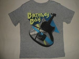 Image Is Loading BABY GAP Grey BIRTHDAY BOY Guitar Graphic Top