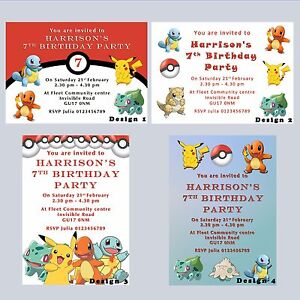Image Is Loading Pokemon Go Personalised Party Birthday Invitations Invites Boys