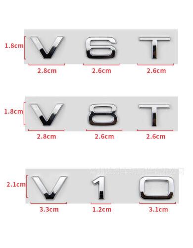 2pcs V6T Logo 3D Chrome Emblem Decal Sticker Badge fot  A1 A3 A4 A5 A6 Q3 Q5