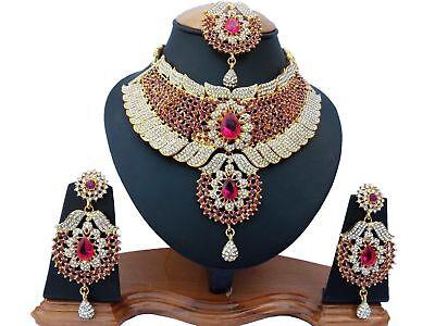 Gold Plated Handmade Kundan Zerconic Bollywood Necklace Set Earring Tika Jewelry