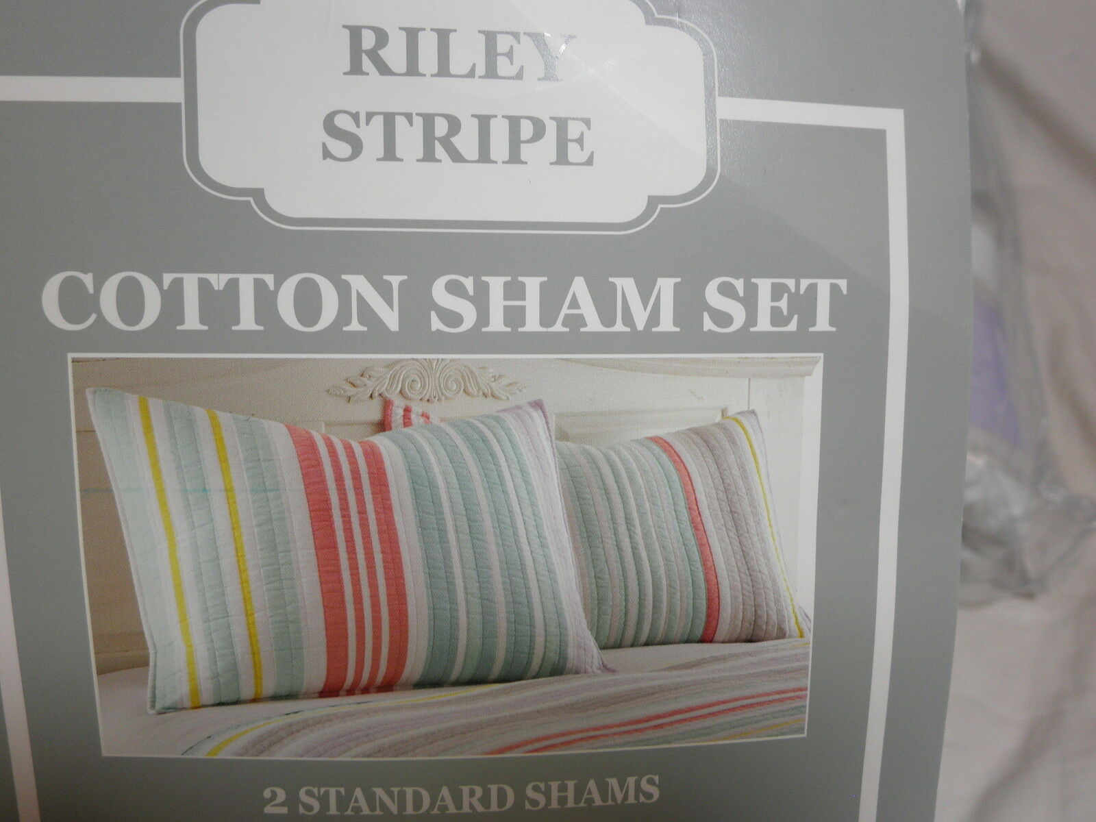 New Riley Strip Set of 2 Standard Quilted Pillow Shams  - Multi color Stripe