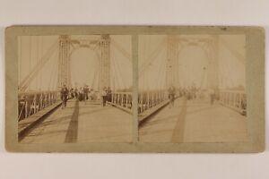 La Incrocio Il Pont IN Bicicletta Foto Stereo Vintage Citrato c1900