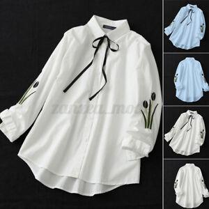 Chemise-Femme-Casual-Loose-Broderie-Floral-Manche-Longue-Revers-Shirt-Haut-Plus