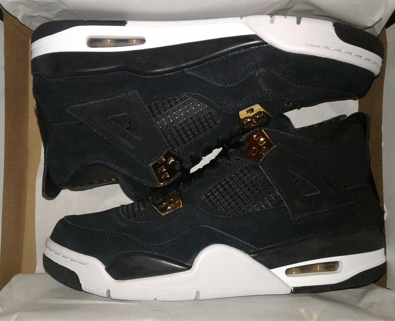 Nike Air Jordan 4 Retro BG 'Royalty' 408452-032 Black/Metallic Gold-White Sz 4Y New shoes for men and women, limited time discount