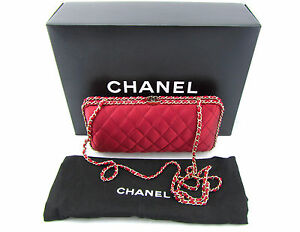 Chanel Red Quilted Satin Box Gold Chain Clutch Crossbody