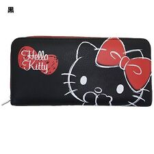 Sanrio Japan Zip-Around Long Wallet - Hello Kitty Face / Black