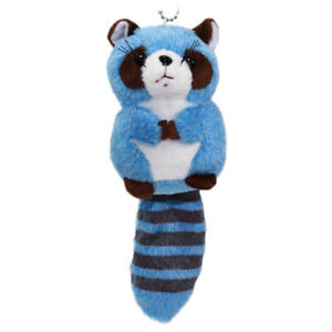 Racoon-Plush-Doll-Japanese-Cute-Soft-Stuffed-Animal-Toy-Keychain-Charm-Blue-4-034
