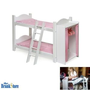 Doll Bunk Bed Clothes Cabinet 18 American Girl Dolls Furniture