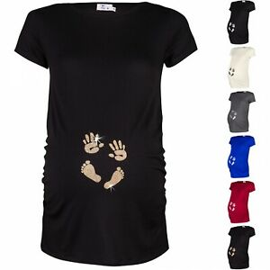 4249bd8232f49 Happy Mama. Women's Pregnancy Maternity T-shirt Tee Shirt Baby Feet ...