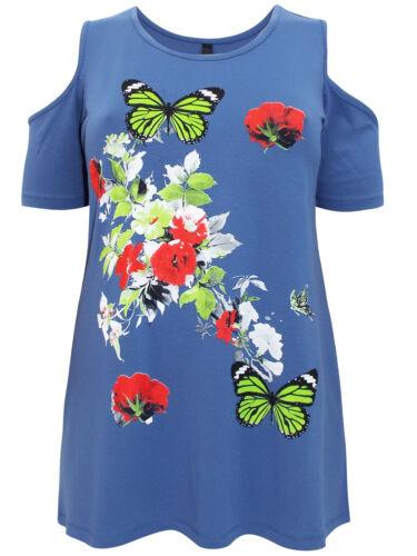 ref 335 vente Bleu Femmes Froid Épaule papillon//Imprimé Floral Top Neuf