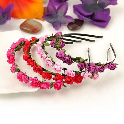 Colorful Beach Style Wedding Garland Floral Headband Hair Hoop Bohemia Fashion