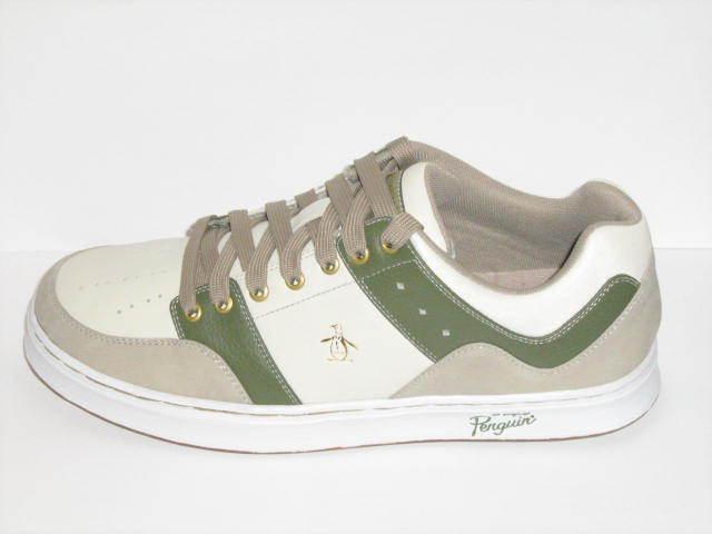 Original Penguin Men's shoes Journey Leather Sneakers Off White Olive Khaki Sz 9
