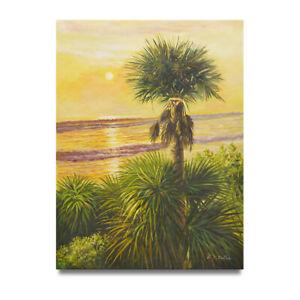 NY-Art-Tropical-Beach-Scene-Sunset-36x48-Oil-Painting-on-Canvas-On-Sale