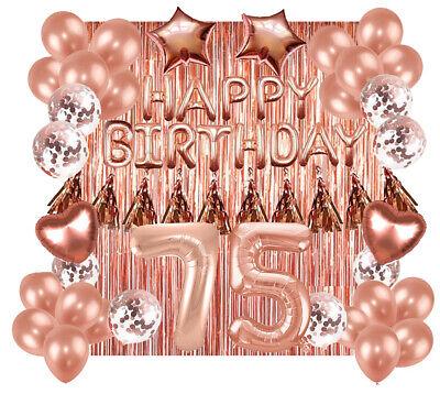 Designer Rose Gold 75th Happy Birthday Balloon Banner Party Decoration Supplies
