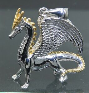 925-Silver-Yellow-Gold-Welsh-Fire-Dragon-Pendant-Necklace-925-Sterling-Silver