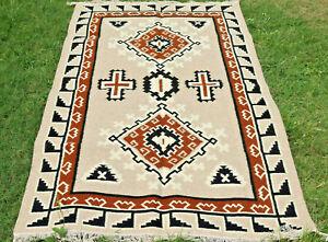 Large-Wool-Kilim-Navajo-Southwestern-Bohemian-Brown-Beige-Rug-5-039-x8-039-Handmade-Rug