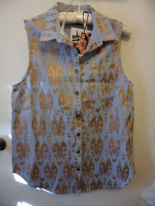 brand-new-with-tags-MINK-PINK-pale-denim-and-gold-sleeveless-shirt-size-S-BNWT