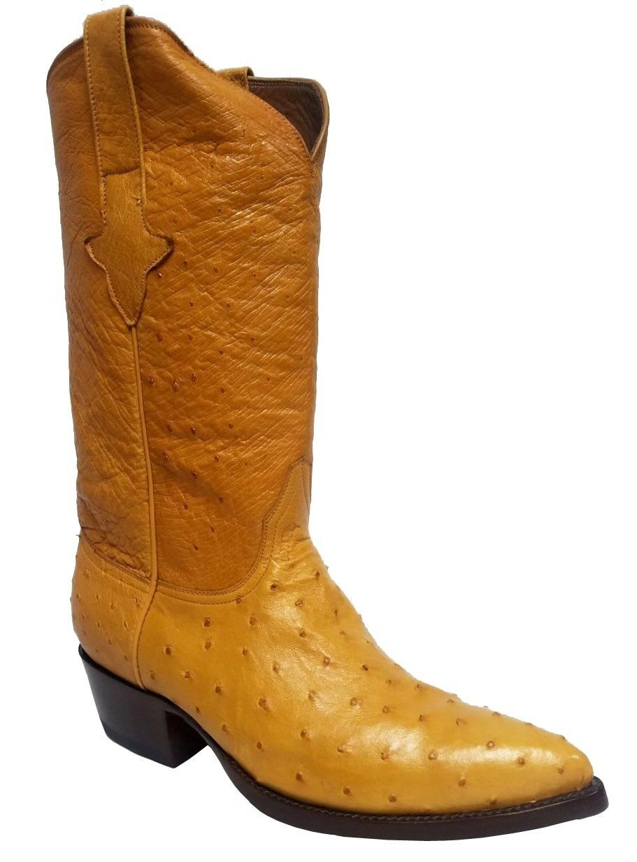Mens Buttercup Full Ostrich Skin Leather Cowboy Boots J Toe Size 8.5