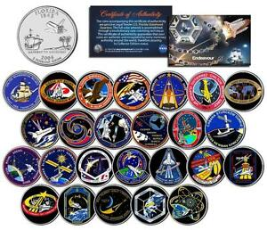 SPACE-SHUTTLE-ENDEAVOR-MISSIONS-Colorized-FL-State-Quarters-US-25-Coin-Set-NASA