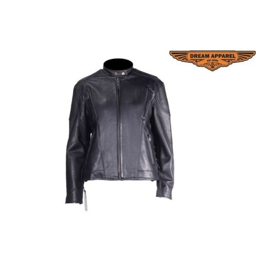 Motorcycle New Black Leather Racer Duty Heavy Vented Soft Women Jacket dTwx74Sqdz