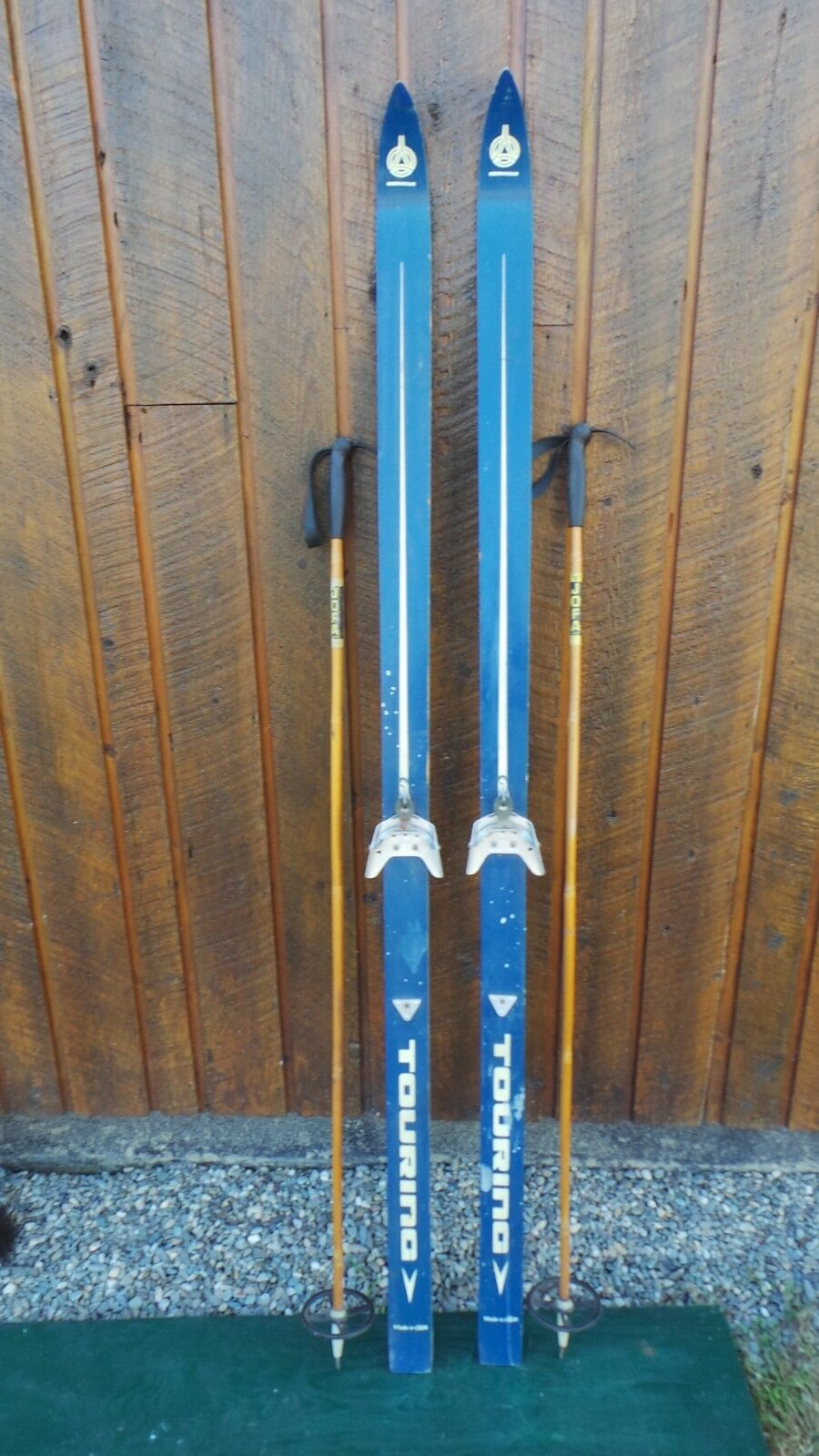 VINTAGE 77  Skis bluee and White Finish Signed TOURING + Bindings + Bamboo Poles
