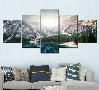 Icy Mountain Lake Tree 5 Piece Canvas Wall Art Poster Print Home Decor