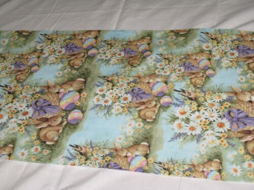 Easter Bunny Brown Turquoise  Handmade Table Runner