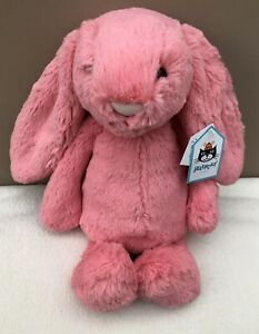 NEW-Jellycat-Medium-Bashful-Coral-Bunny-Rabbit-Soft-Baby-Toy-Comforter-Pink-BNWT