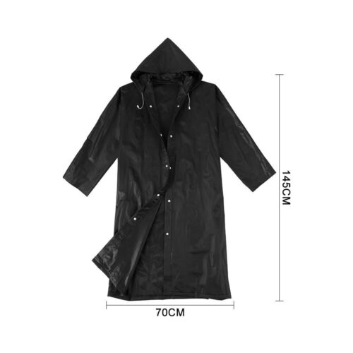 Outdoor Black Raincoat EVA Cloth Long Rain Coat Poncho Waterproof With Hat UK