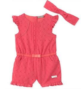 1fd481e5ff7f Calvin Klein Infant Girls Melon Romper   Headband Size 3 6M 6 9M 12M ...