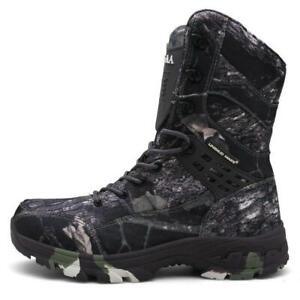 Camuflaje-de-Hombre-Zapatos-Botas-Ejercito-Impermeable-Senderismo-Tobillo-Alto-Zapatos-de-combate