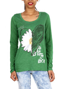 edc3ff618 Details about Desigual Daisy Heart Long Sleeved Stretch Green Top S/M/L  10/12/14 BNWT SHIRT
