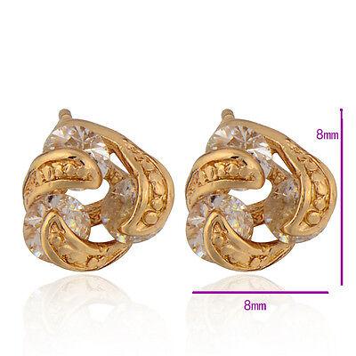 9K Yellow Gold Filled Clear Cubic Zirconia Women's Stud Earrings Party