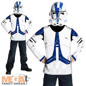 Image is loading Clone-Trooper-Mask-Boys-Fancy-Dress-Star-Wars-  sc 1 st  eBay & Clone Trooper + Mask Boys Fancy Dress Star Wars Childs Kids ...