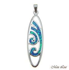 925 Sterling Silver Rhodium Hawaiian Blue Opal Ocean Wave Surfboard Pendant