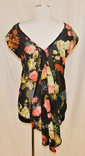 CHIC BoHo ChaCha Vente Sheer Floral Flowing Fish Tail Top Blouse Shirt S