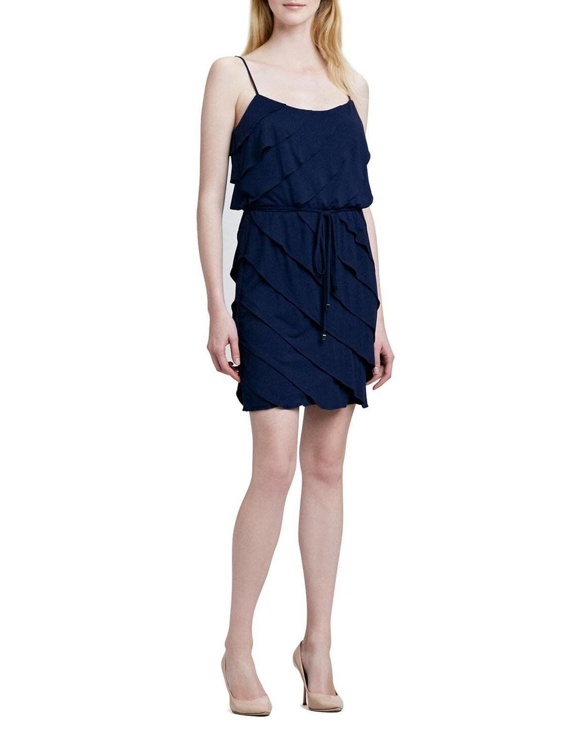 LAUNDRY  NEW Sexy Blau Spaghetti Straps Ruffled Tierot Belted Dress M QCO
