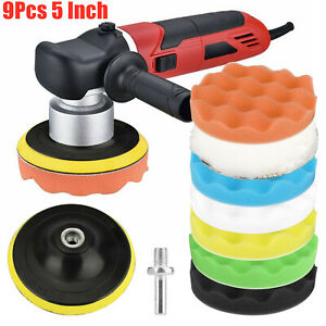 9pcs 5 Inch Car Buffing Pads Polishing for Drill Sponge Kit Waxing Foam Polisher