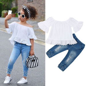 US Toddler Kid Baby Girl Off Shoulder Tops Denim Pants Jeans Outfit Set Clothes