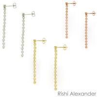 925 Sterling Silver 18kt Gp Rose Gold Diamond Cut Italian Dangle Earrings