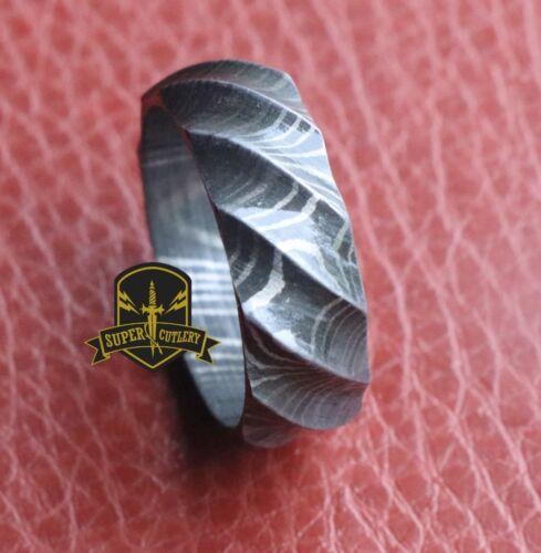 "Damascus Steel Tumbled Rock Pattern Men Ring Wedding Engagement band 8MM /""Twist/"""