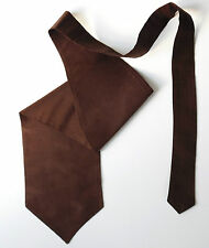 Mens cravat formal wedding dress ruche Chocolate brown Single wing Self tie NEW